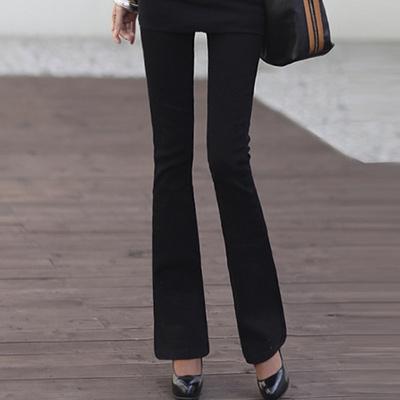正韓 基本款修長線條喇叭褲 (黑色)-N.C21