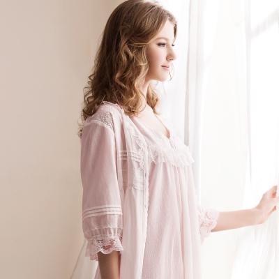 羅絲美睡衣 - 春之旋律蕾絲五分袖洋裝外罩衫 (甜美粉)