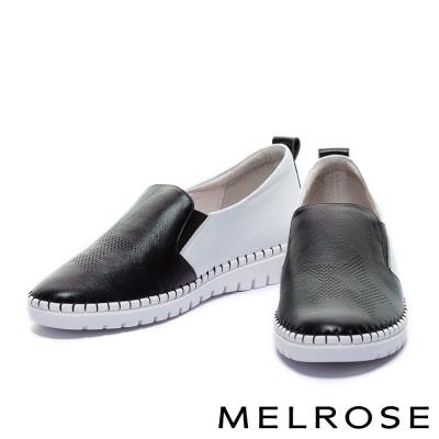 休閒鞋-MELROSE-全真皮星星造型厚底休閒鞋-黑白