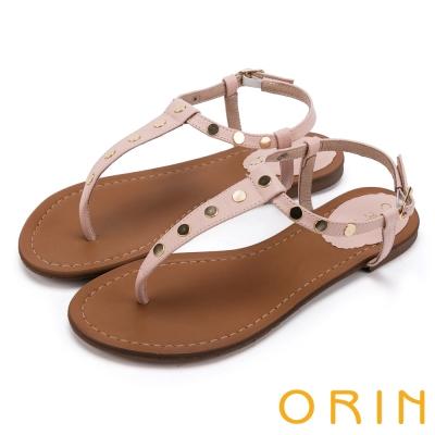 ORIN 夏日時尚風 個性鉚釘T字牛皮夾腳涼鞋-粉紅