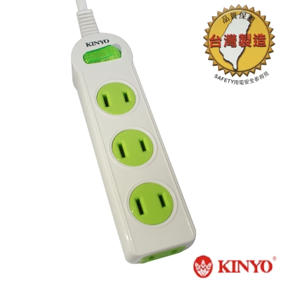 【KINYO】1開4插2孔彩色安全延長線9尺2.7m(P114-9)