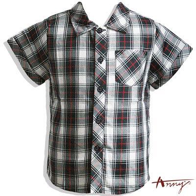 氣質經典帥氣格紋短版襯衫*4390黑