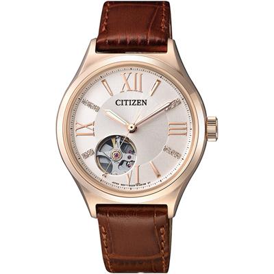 CITIZEN Ladies 鏤空機械錶(PC1003-07A)-玫瑰金/34mm