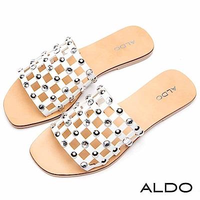 ALDO 原色真皮幾何方格水鑽圓珠涼拖鞋~氣質白色