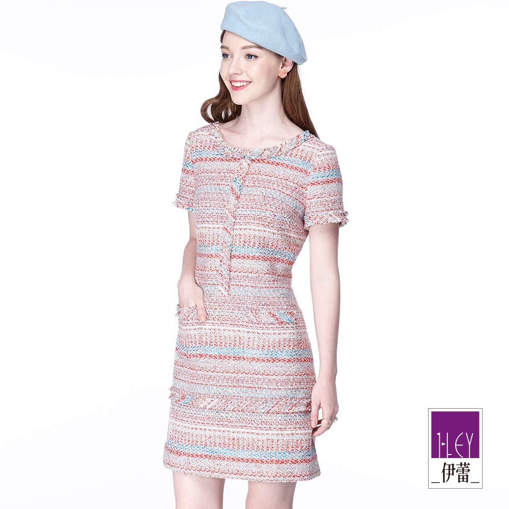 ILEY伊蕾 時尚糖果色花呢洋裝(紅)