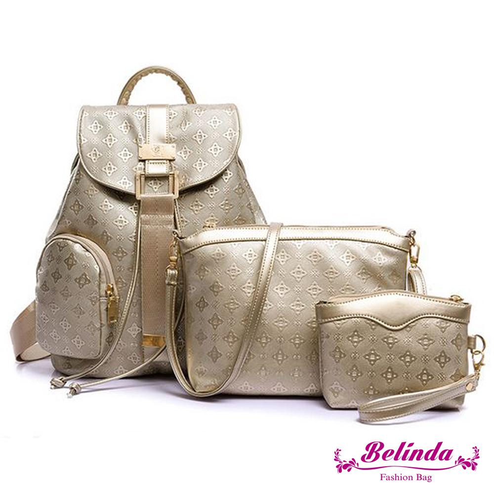 【Belinda】知性典雅菱格紋後背包-金色(快)