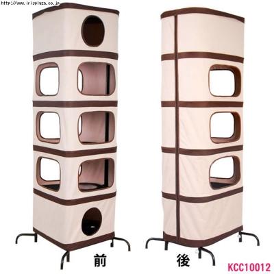 日本IRIS摺疊貓咪收納式布貓塔-方型(KCC10012)