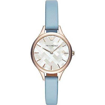 Emporio Armani 格紋美學時尚手錶(AR11109)-珍珠貝X藍/32mm