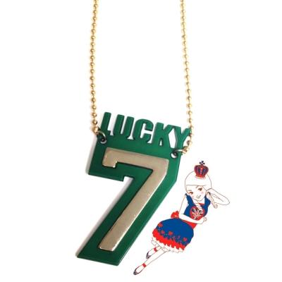 Anna Lou Of London倫敦品牌 LUCKY 7金綠立體幸運數字項鍊