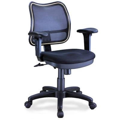 aaronation 升降PU扶手彈性尼龍網背電腦椅-黑(i-RS105SG)