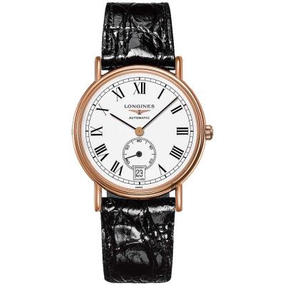LONGINES浪琴 Presence 小秒針機械錶-白x玫塊金框x黑/38.5mm L48051112