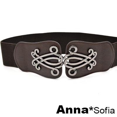AnnaSofia-金屬綣紋飾蛇紋革-彈性腰帶馬甲