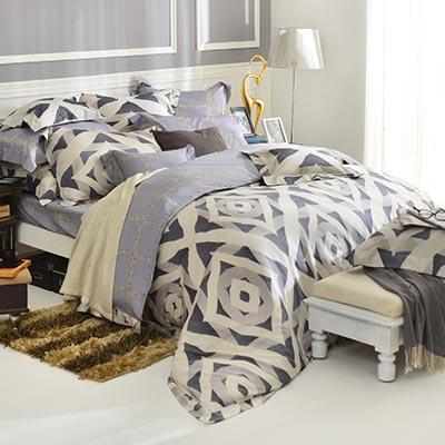 義大利La Belle 蒙里西 雙人天絲四件式防蹣抗菌舖棉兩用被床包組