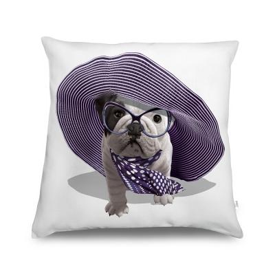 法國數位藝廊-狗狗抱枕/靠墊-法式香頌(白)-含芯/60x60