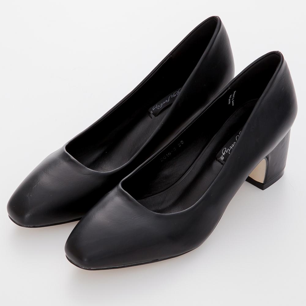 River&Moon跟鞋 俐落職場 簡約素面Q軟內墊方跟鞋-黑系