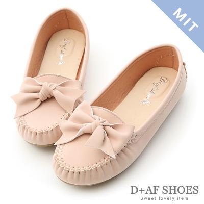 D+AF 可愛印象.MIT立體蝴蝶莫卡辛豆豆鞋*粉