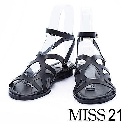 涼鞋 MISS 21 羅馬式交織牛皮繫帶低跟涼鞋-黑