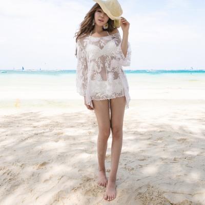Biki比基尼妮,白色蕾絲喇叭袖長袖罩衫可內搭比基尼(單賣罩衫)