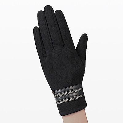 幸福揚邑 防風觸控手套加絨保暖機車手套-皮飾男款-黑