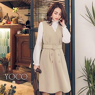 東京著衣-yoco知性女孩交叉V領雙排釦修身背心洋裝-S.M.L(共二色)