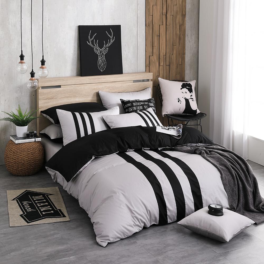OLIVIA  REMIX 銀灰X黑  標準單人床包冬夏兩用被套三件組