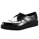 TUK尖頭黑色飾線龐克鞋-3CM-黑/白
