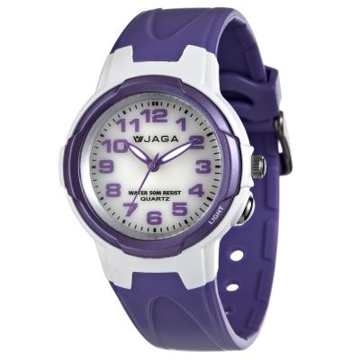 JAGA 捷卡 色彩繽紛夜光防水指針錶-白紫/47mm