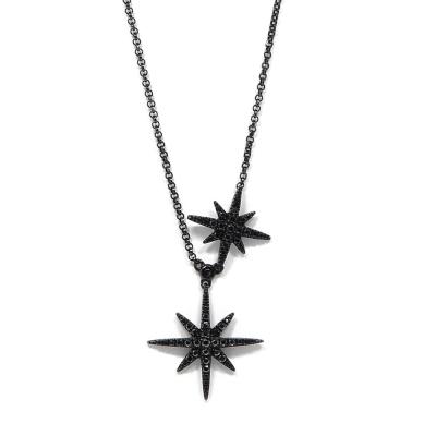 apm MONACO法國精品珠寶 閃耀黑色雙繁星可調整長項鍊
