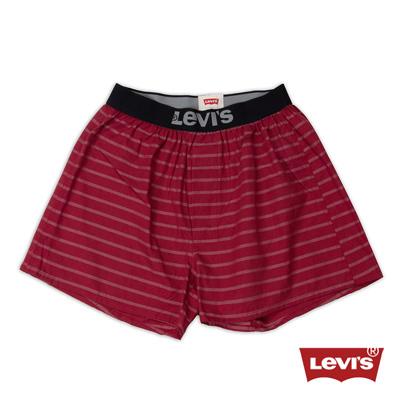 Levis-Woven-Boxer-酒紅簡約條紋四