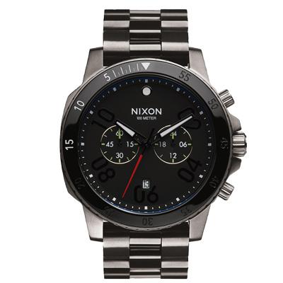 NIXON RANGER CHRONO集英捍衛雙眼計時腕錶-黑X指針黑白/45mm