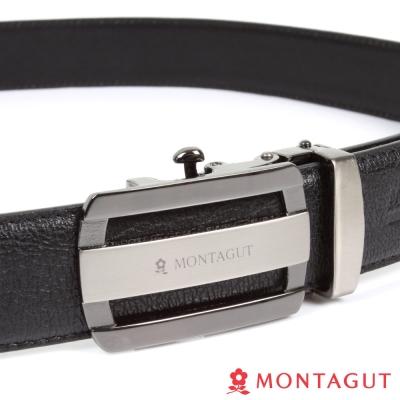 MONTAGUT夢特嬌-經典圓角簍空霧Logo款-二層牛皮自動扣皮帶-755