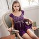 大尺碼 蓋袖二件式睡衣 紫 L-2L Ann