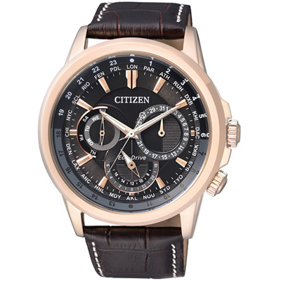 CITIZEN 光動能都會雅仕三眼腕錶(BU2023-12E)-黑x玫瑰金/44mm