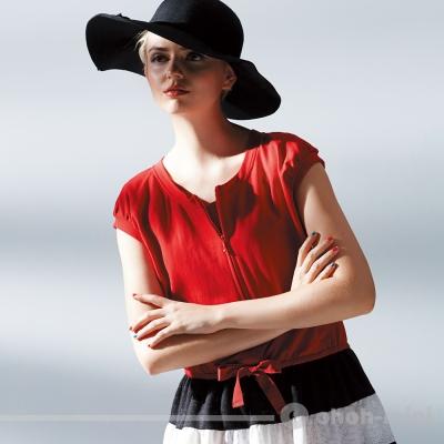 【ohoh-mini 孕婦裝】時尚摩登級短哺乳洋裝
