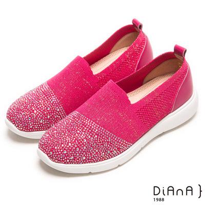 DIANA 璀璨樂活--耀眼亮蔥針織漫天水鑽輕量休閒鞋-桃