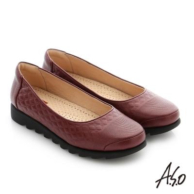 A.S.O 輕量休閒 真皮閃亮牛皮奈米休閒鞋 酒紅色