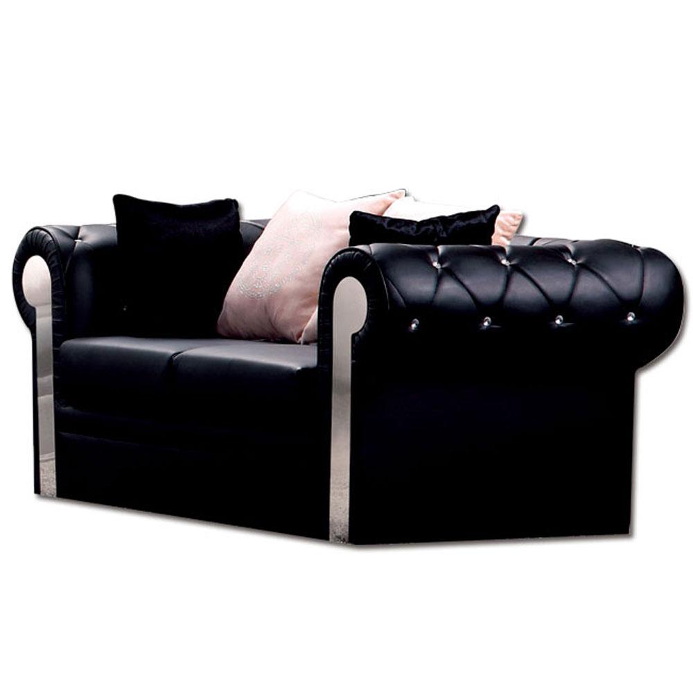 《居家生活》奢華風尚雙人黑皮沙發