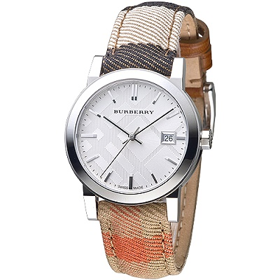 BURBERRY 倫敦精品幾何圖形設計皮帶女錶-銀白/彩色格紋(BU9151)/35mm