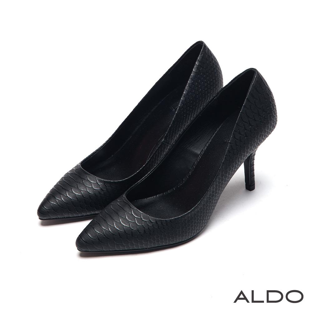ALDO 時尚美人原色立體蛇紋尖頭細高跟鞋~尊爵霧黑