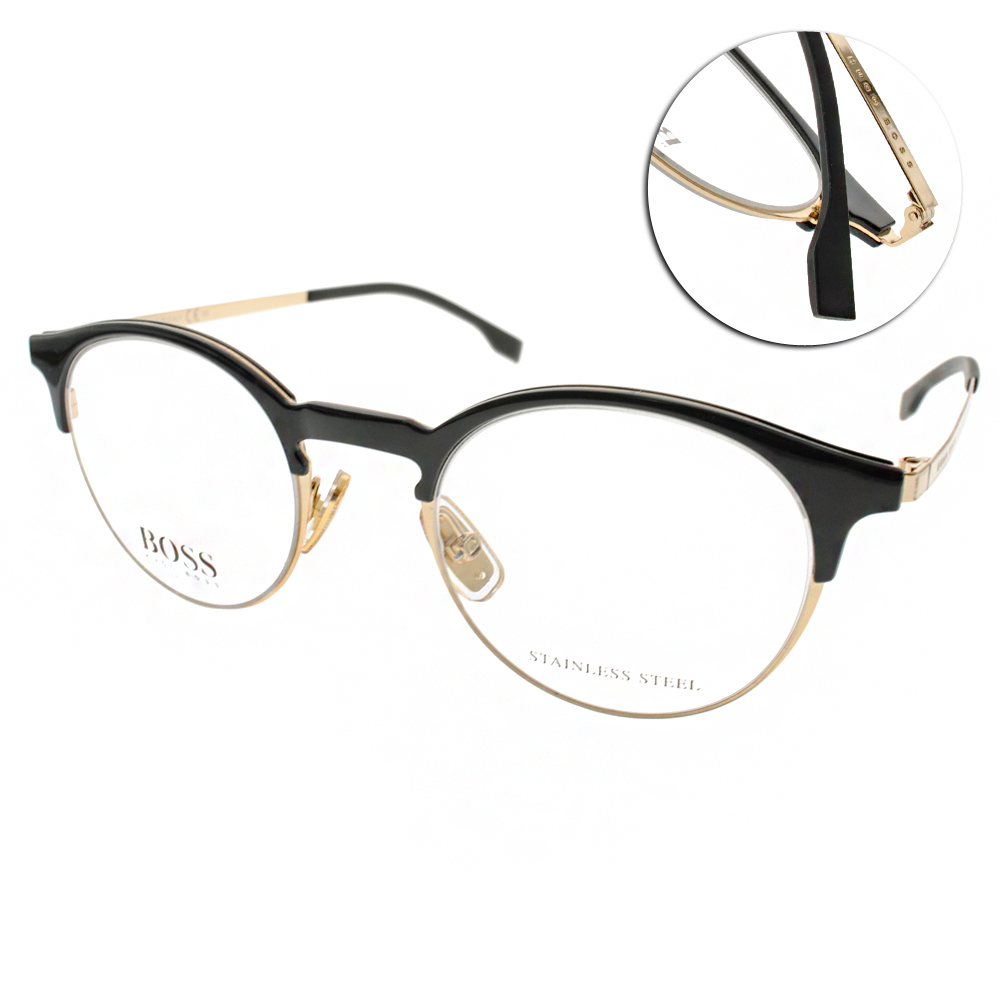 HUGO BOSS眼鏡 簡約半框/黑-金#HB0785 J5G