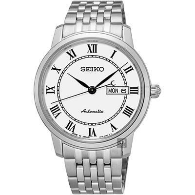 SEIKO精工 Presage 羅馬經典機械腕錶(SRP761J1)-白/40mm