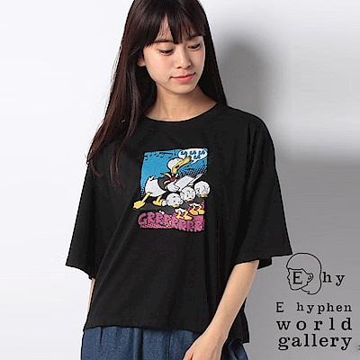 E hyphen Disney聯名款-唐老鴨家族打印落肩T恤
