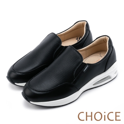 CHOiCE 中性休閒 率性素面牛皮舒適氣墊休閒鞋-黑色