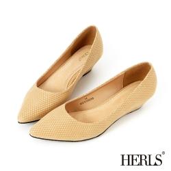 HERLS 璀璨星光 內真皮點點亮紋楔型跟鞋-米色