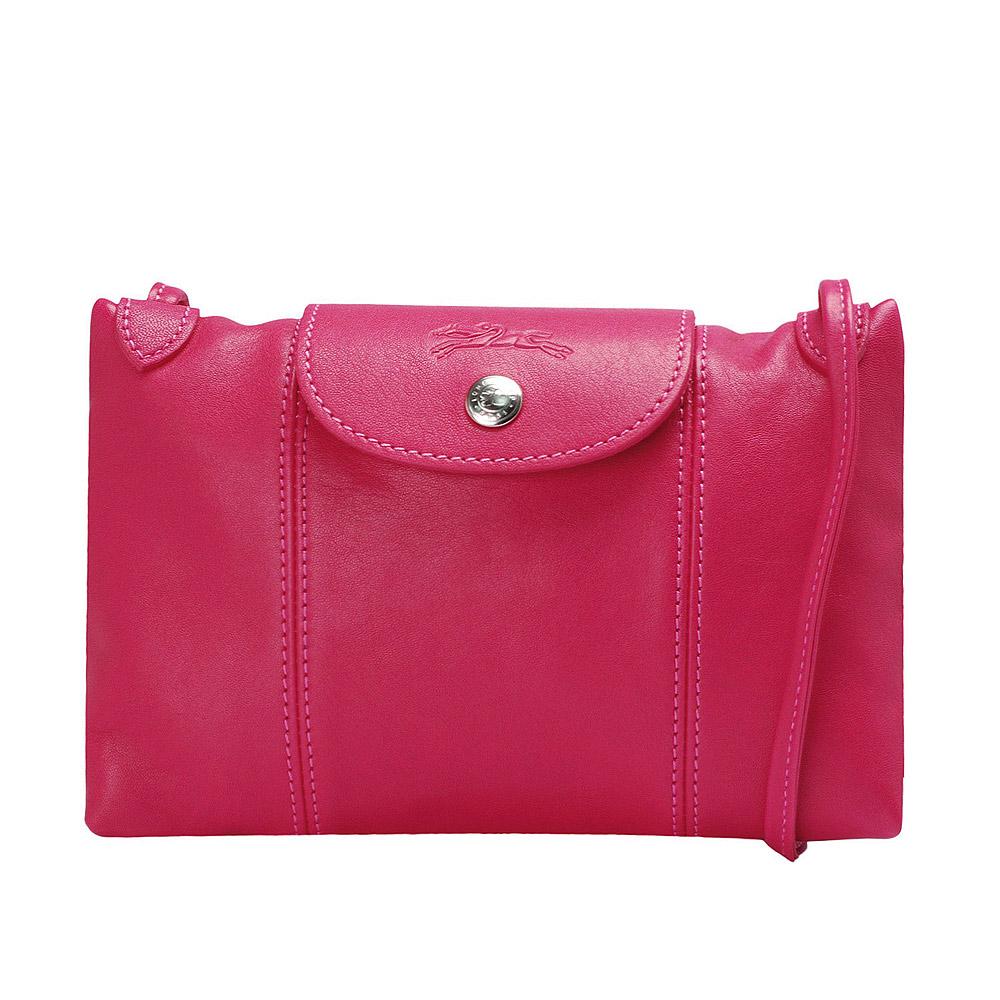 LONGCHAMP LE PLI LE PLIAGE CUIR小羊皮手提/斜背包(紫紅色)LONGCHAMP