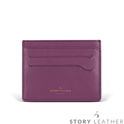 STORYLEATHER 多功能卡套 91155-A183小牛皮素紋茄紫+烙印服務