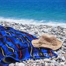 KENZO-海洋-純棉毛巾蓋毯(深藍)