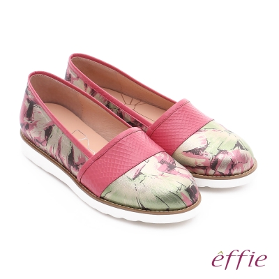 effie休閒摩登 壓紋真皮閃色印刷布休閒鞋 桃粉紅