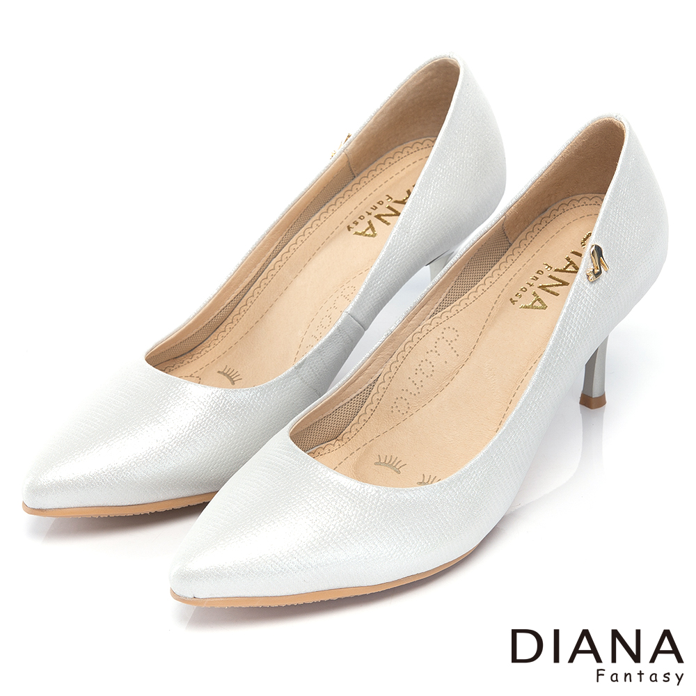 DIANA 漫步雲端焦糖美人款--素面簡約壓紋真皮跟鞋-銀