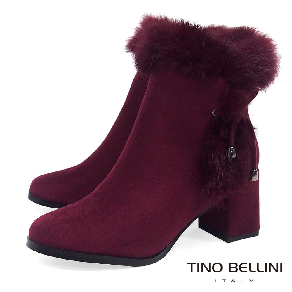 Tino Bellini 浪漫冬日毛海中跟短靴_ 酒紅